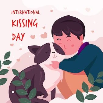 Płaski międzynarodowy dzień całowania ilustracja z chłopcem i kotem