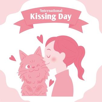 Płaski międzynarodowy dzień całowania ilustracja z kobietą i kotem