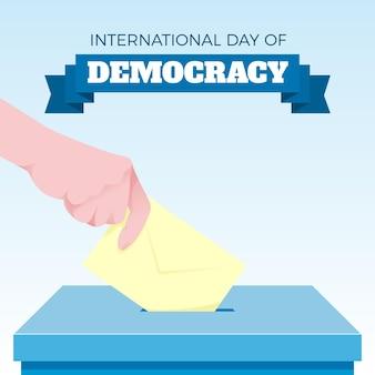 Płaski międzynarodowy dzień demokracji z ręką i urną wyborczą