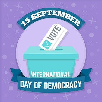 Płaski międzynarodowy dzień demokracji z urną wyborczą