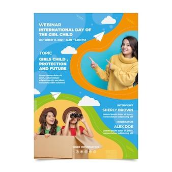 Płaski międzynarodowy dzień dziewczyny pionowy plakat szablon ze zdjęciem