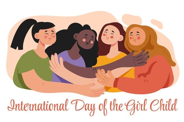 Płaski międzynarodowy dzień ilustracji dziecka dziewczyny