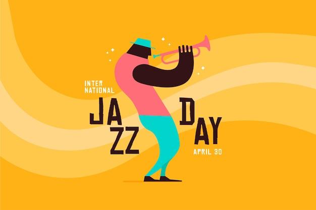 Płaski międzynarodowy dzień jazzowy tło