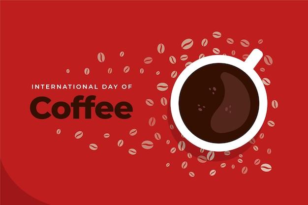 Płaski międzynarodowy dzień kawy ilustracja