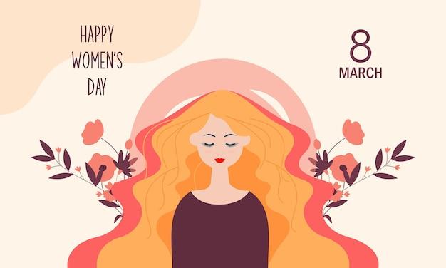 Płaski międzynarodowy dzień kobiet z kwiatowymi detalami