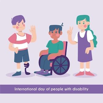 Płaski Międzynarodowy Dzień Osób Niepełnosprawnych Premium Wektorów