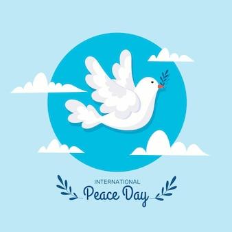 Płaski międzynarodowy dzień pokoju ptak ilustrowany