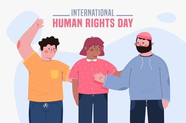 Płaski międzynarodowy dzień praw człowieka z ludźmi