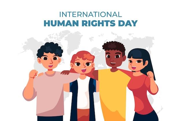 Płaski międzynarodowy dzień praw człowieka z postaciami