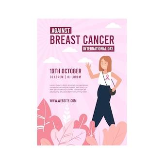 Płaski międzynarodowy dzień przeciwko szablonowi pionowego plakatu raka piersi