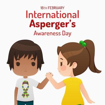 Płaski międzynarodowy dzień świadomości aspergera z dziewczyną i chłopcem