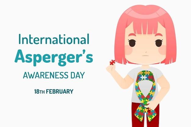 Płaski międzynarodowy dzień świadomości aspergera z dziewczyną