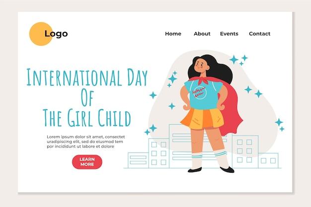 Płaski międzynarodowy dzień szablonu strony docelowej dla dzieci dziewczynki