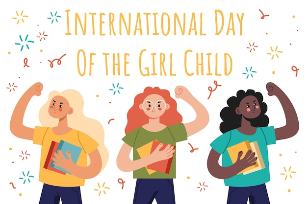 Płaski międzynarodowy dzień tła dziecka dziewczyny