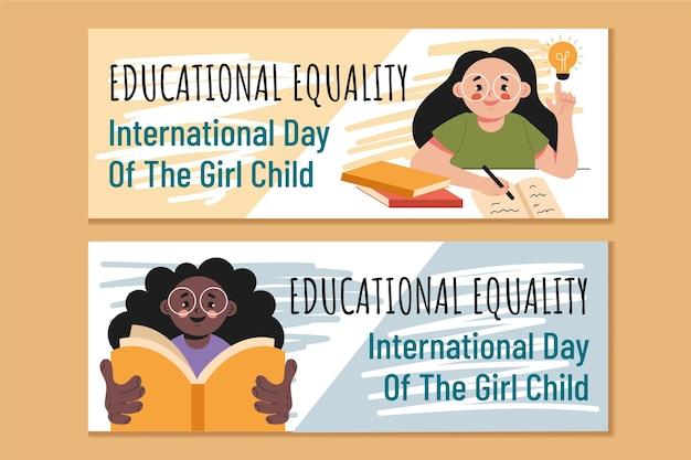 Płaski międzynarodowy dzień zestaw poziomych banerów dla dziewczynki