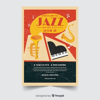Płaski międzynarodowy jazzowy dzień plakatowy szablon
