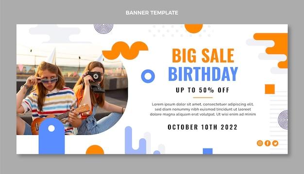 Płaski minimalistyczny baner sprzedaży urodzinowej