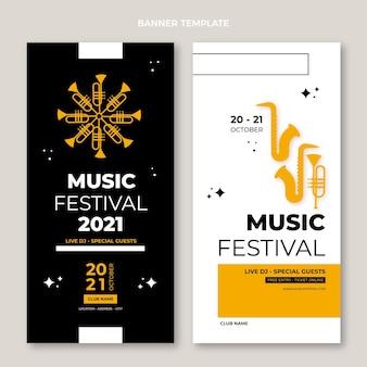 Płaski minimalistyczny projekt banerów festiwalu muzycznego w pionie