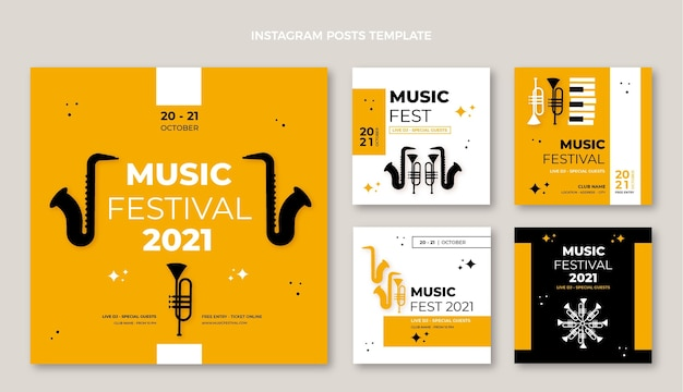 Płaski minimalistyczny projekt festiwalu muzycznego ig post