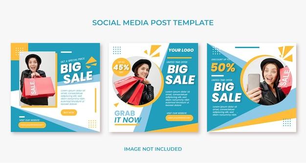 Płaski, minimalny, duży, promocyjny szablon postu w mediach społecznościowych