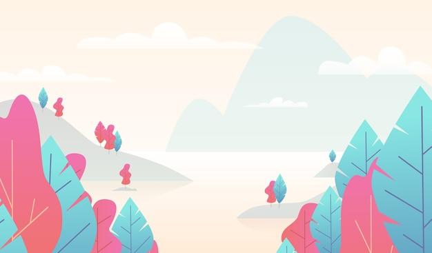 Płaski minimalny krajobraz. scena przyrody górskiej z drzewami i jeziorem. spadek panoramy ze stawem. minimalistyczne fantasy kolorowe pastelowe tło