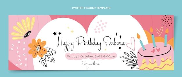 Płaski minimalny nagłówek twittera urodzinowego