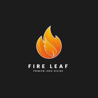 Płaski minimalny natura liść ogień logo projekt wektor