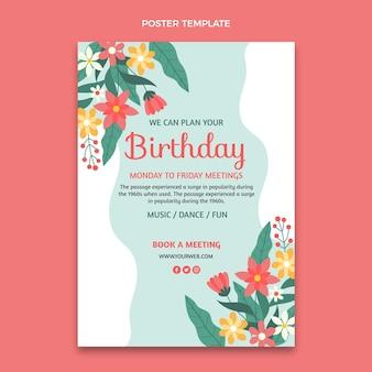 Płaski minimalny plakat urodzinowy