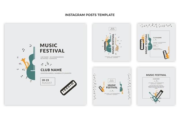 Płaski minimalny post na festiwalu muzycznym na instagramie