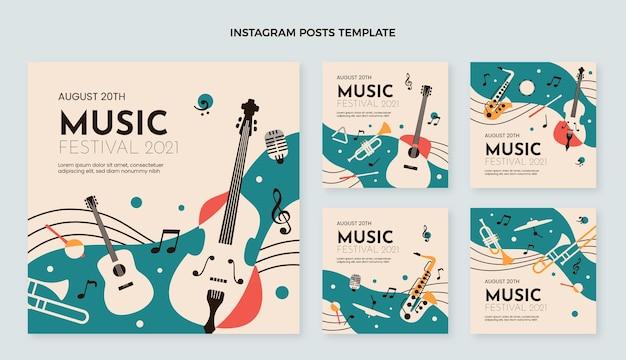 Płaski minimalny post na instagramie muzycznym