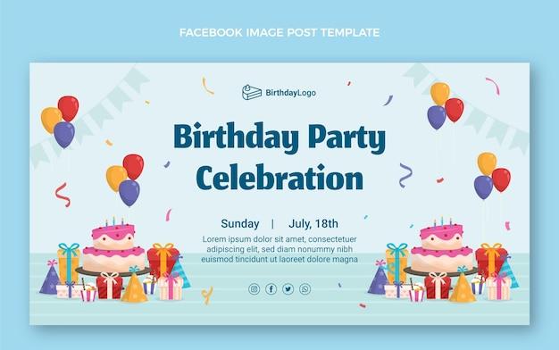 Płaski minimalny post urodzinowy na facebooku
