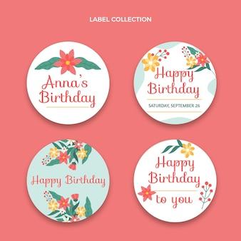 Płaski minimalny zestaw etykiet urodzinowych