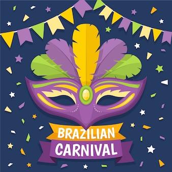 Płaski motyw brazylijskiego karnawału z maskami
