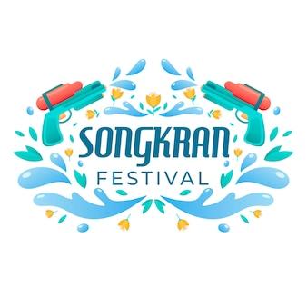Płaski motyw festiwalu songkran