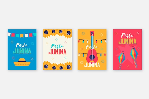 Płaski motyw kolekcji kart festa junina