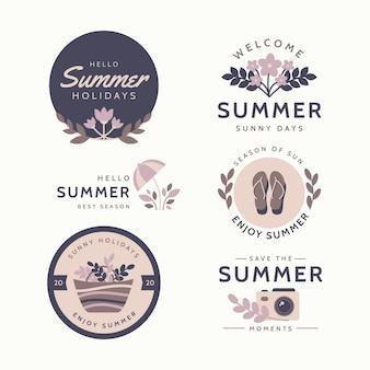 Płaski motyw lato etykiety