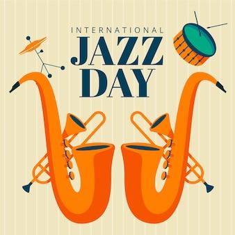 Płaski motyw międzynarodowego dnia jazzowego