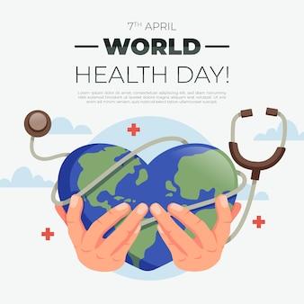 Płaski motyw na światowy dzień zdrowia