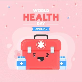 Płaski motyw światowego dnia zdrowia
