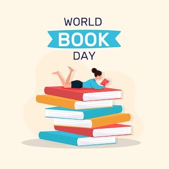 Płaski motyw światowy dzień książki tematu