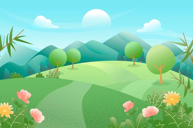 Płaski motyw wiosenny krajobraz motywu
