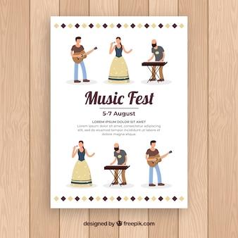 Płaski muzyczny fest plakat z zespołem muzycznym