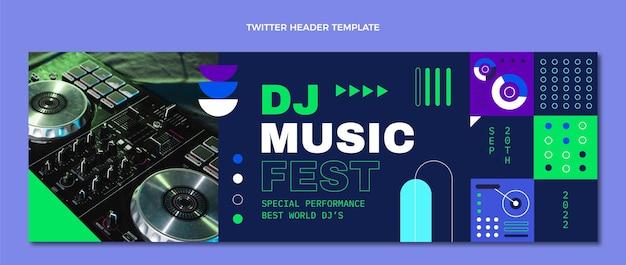 Płaski nagłówek festiwalu muzycznego z mozaiką na twitterze