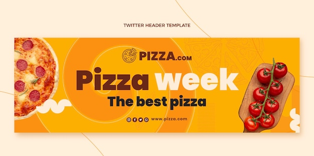 Płaski nagłówek twitter tygodnia pizzy
