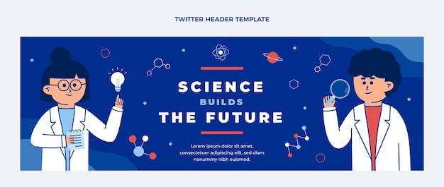 Płaski nagłówek twittera naukowego