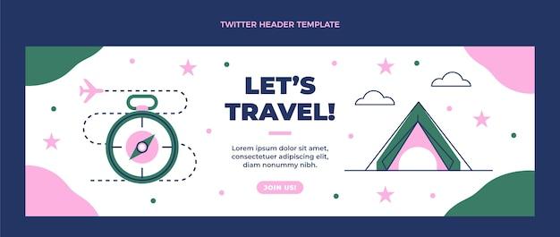 Płaski nagłówek twittera podróży