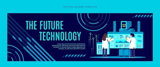Płaski nagłówek twittera w minimalnej technologii