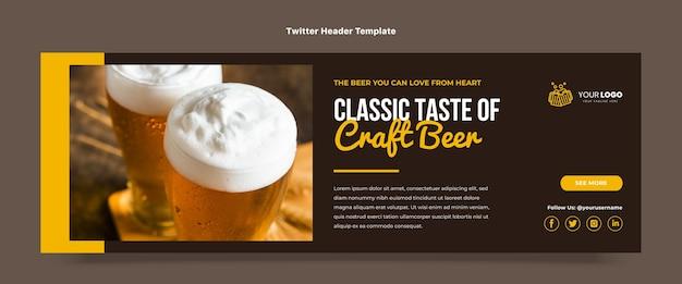 Płaski nagłówek twittera z piwem rzemieślniczym