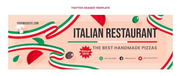 Płaski nagłówek twittera z włoskim jedzeniem