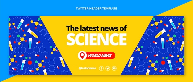 Płaski nagłówek wiadomości naukowej na twitterze